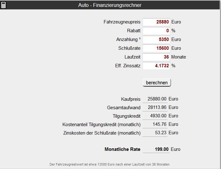 autofinanzierung schlussrate 15600 euro wie hoch ist der zinssatz der zu der schlussrate. Black Bedroom Furniture Sets. Home Design Ideas