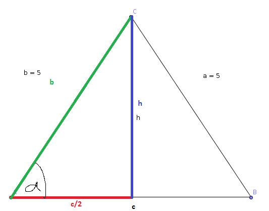 trigonometrie 1 berechnung von seite und h he des gleichschenkligen dreieck abc mit a b 5cm. Black Bedroom Furniture Sets. Home Design Ideas