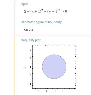Menge zeichnen h(x,y)>0. h(x,y): = ln(2-(x+1)^2 - (y-1)^2 ...