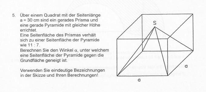 berechnen sie den winkel alpha unter welchem eine seitenfl che der pyramide gegen die. Black Bedroom Furniture Sets. Home Design Ideas