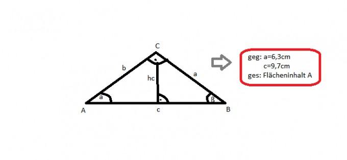 winkelberechnung im rechtwinkligen dreieck mit h he. Black Bedroom Furniture Sets. Home Design Ideas