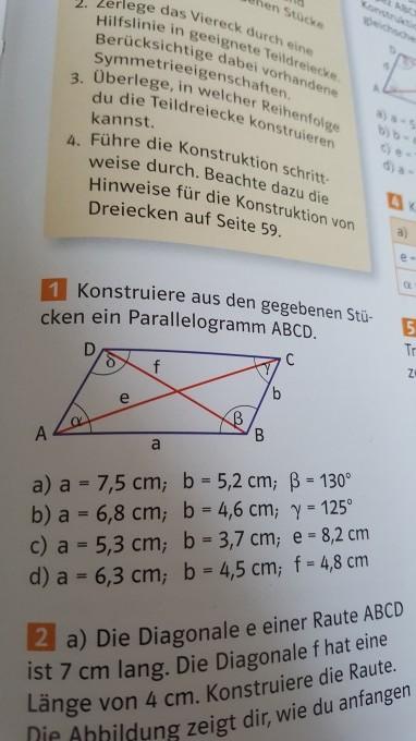 Aufgabe 1c) Parallelogramm mit a=5,3cm , b= 3,7cm und e=8,2cm ...