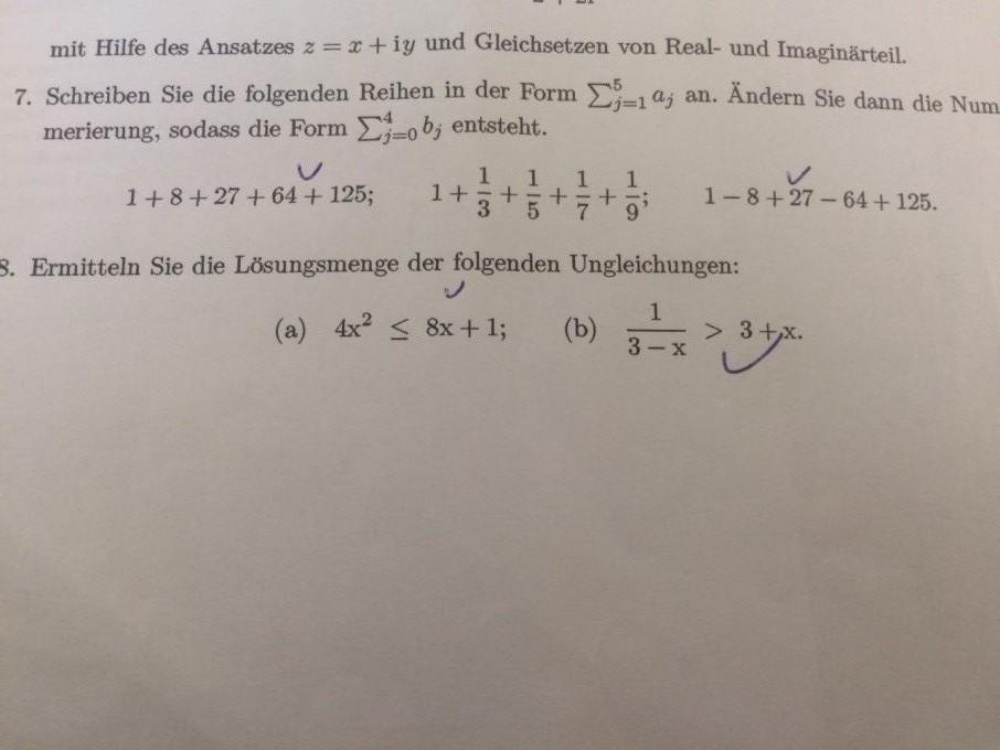 Benötige Hilfe Aufgabe 7 Summe Mathelounge