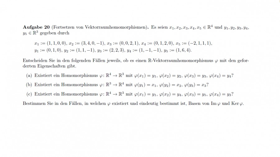 Fortsetzen von Vektorraumhomomorphismen   Mathelounge