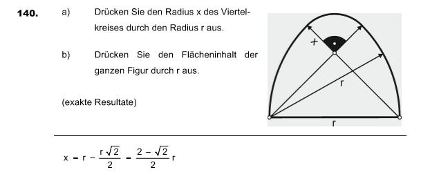 radius x berechnen aus viertelkreis 140 mathelounge. Black Bedroom Furniture Sets. Home Design Ideas