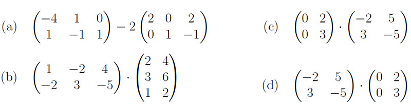 matrix algebra mit matrizen subtraktion multiplikation mit skalar und mit matrix mathelounge. Black Bedroom Furniture Sets. Home Design Ideas