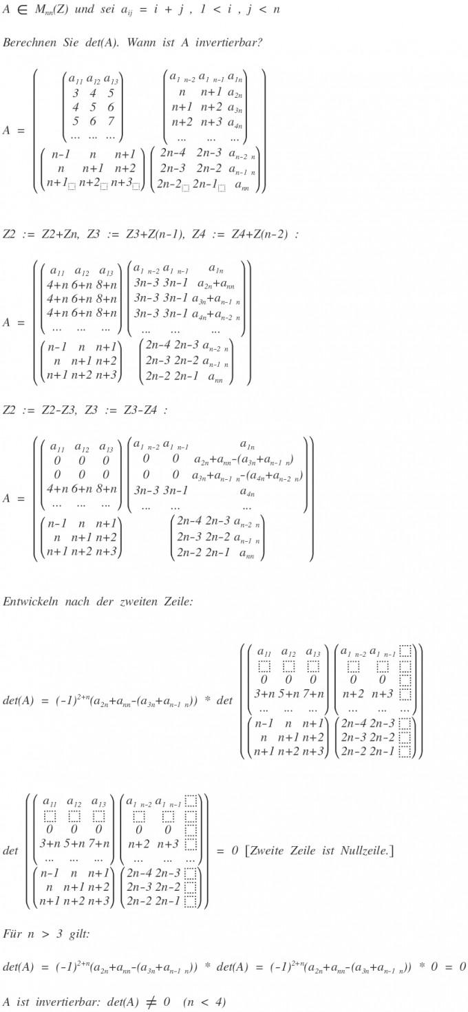 matrix determinante einer n n matrix berechnen a ij i j mathelounge. Black Bedroom Furniture Sets. Home Design Ideas
