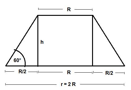 geometrie kreiskegelstumpf radien r und r verhalten sich wie 2 1 berechne die h he des. Black Bedroom Furniture Sets. Home Design Ideas