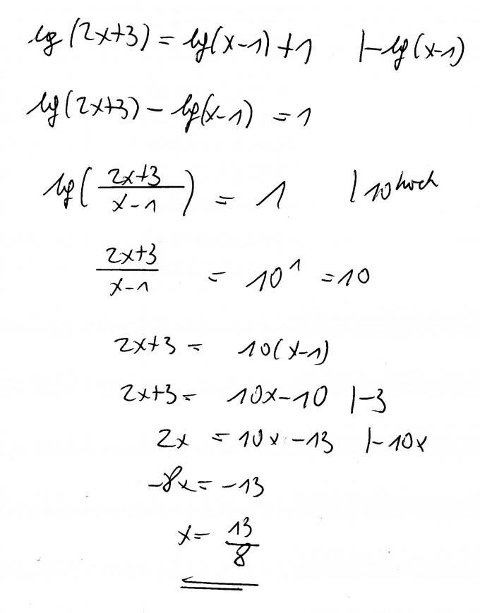 Logarithmus Brüche umformen lg(2x+3)=lg(x-1)+1 | Mathelounge