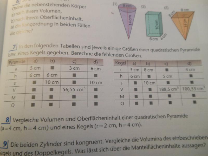 Pyramide und Kegel berechnen Aufgabe 7 | Mathelounge