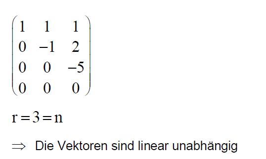 Sind Die 3 Vektoren Linear Unabhängig Mathelounge