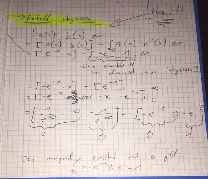 Integral berechnen: x * e^-x: aber wie aufstellen UND wie ...