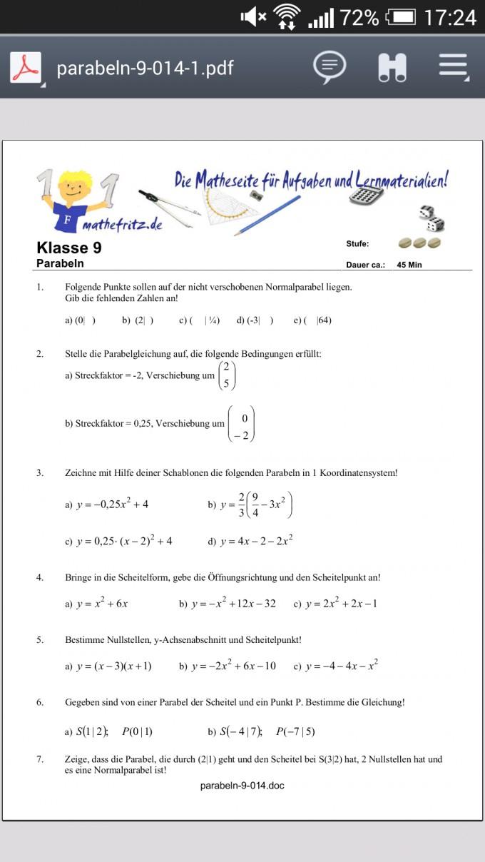 Parabeln zeichnen Arbeitsblatt | Mathelounge