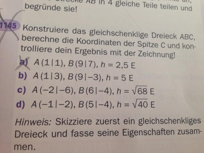 Koordinate c beim Dreieck berechnen?(Vektoren) | Mathelounge