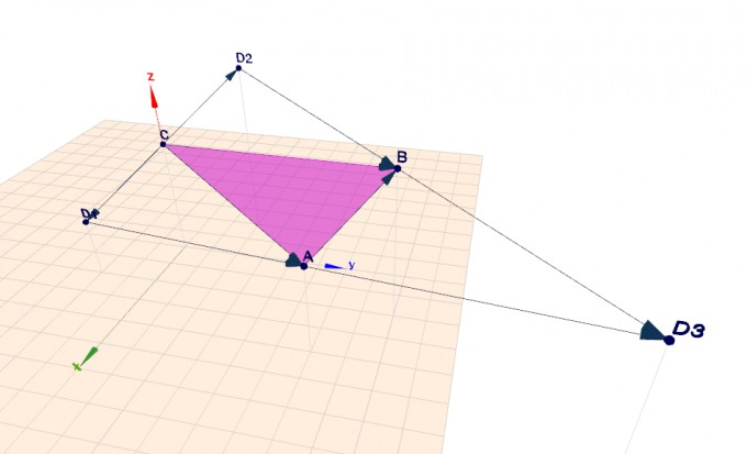 Create a triangle by 3 vectors, complement a 4th vector for a parallelogramm (3 possibilities)