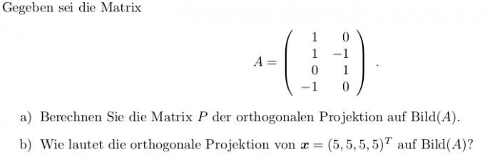 Orthogonale Projektion Auf Einen Vektorraum Mathelounge