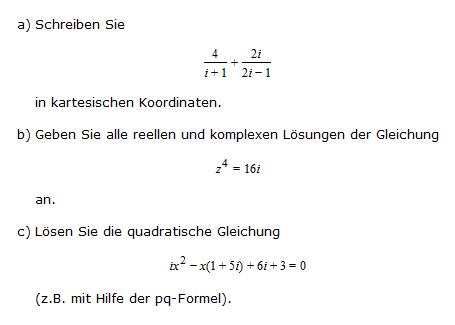 Reelle Und Komplexe Lösungen 4i1 2i2i 1 Z4 16i Ix2