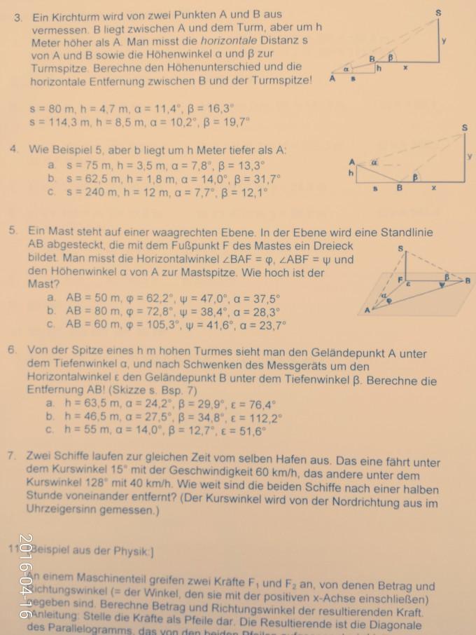 Trigonometrie (Textaufgaben, Vermessung etc.) Kirchturmspitze und 2 ...