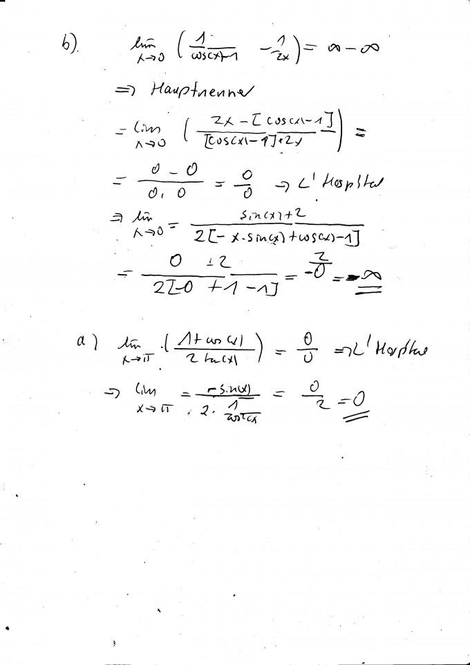 grenzwert berechnen sie die folgenden grenzwerte lim x 1 cos x 2tan x mathelounge. Black Bedroom Furniture Sets. Home Design Ideas