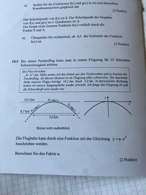 gleichungen und funktionen faktor a f r die flugbahn berechnen mathelounge. Black Bedroom Furniture Sets. Home Design Ideas