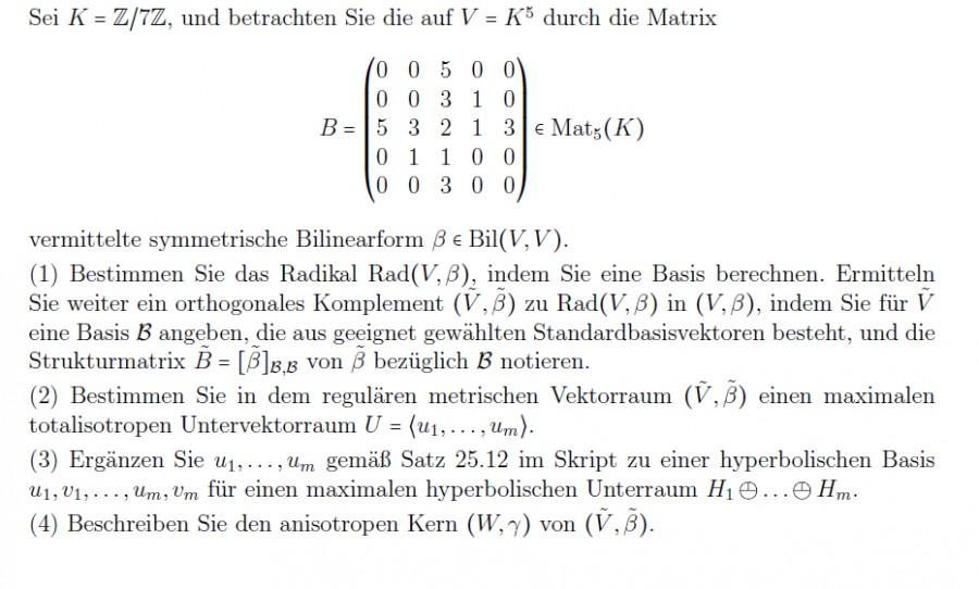 Orthogonales Komplement zum Radikal und maximaler totalisotroper ...