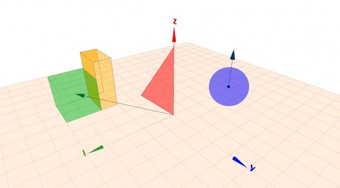 Beispiel für Kreis, Quader, Würfel, Dreieck, Vektor