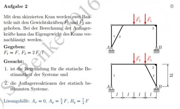 Kran mit 2 gewichtskr ften wie bestimme ich die statische for Statische bestimmtheit berechnen