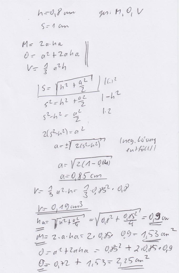 Berechne Mantelfläche, Oberfläche und Volumen der quadratischen ...
