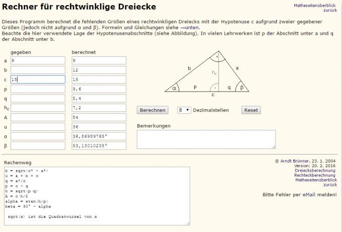 Ein rechtwinkliges Dreieck hat die Seitenlängen 9cm und 15cm ...