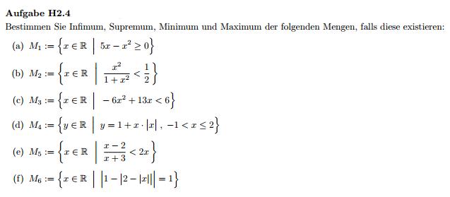 supremum infimum maxiumum und minumum bestimmen