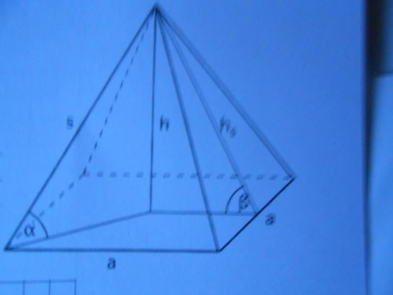 grundkante und winkel einer quadratischen pyramide. Black Bedroom Furniture Sets. Home Design Ideas