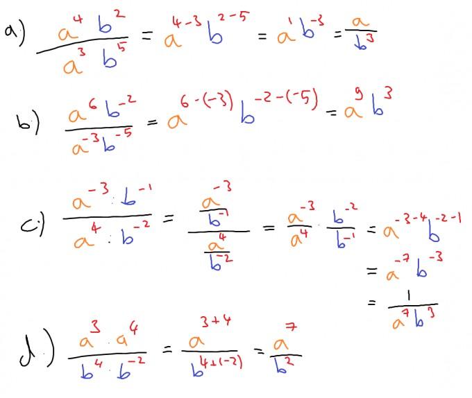 Terme mit Brüchen und negativen Exponenten vereinfachen. Mathegenie ...