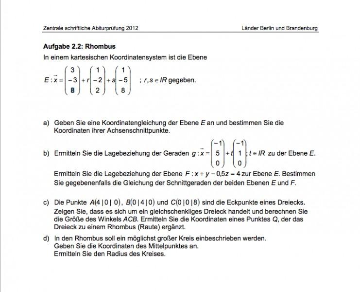 mathe abi 2012 bung koordinatengleichung ebene gerade dreieck rhombus mathelounge. Black Bedroom Furniture Sets. Home Design Ideas