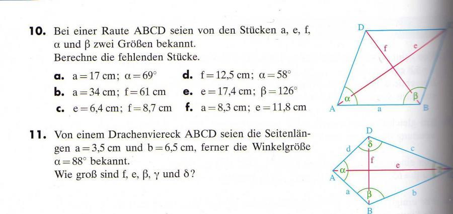 Raute/Rombus und Drachen mit Trigonometrie berechnen. | Mathelounge