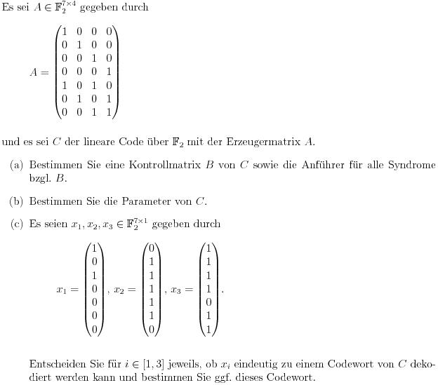 kontrollmatrix aus erzeugermatrix berechnen lineare codierungstheorie mathelounge. Black Bedroom Furniture Sets. Home Design Ideas