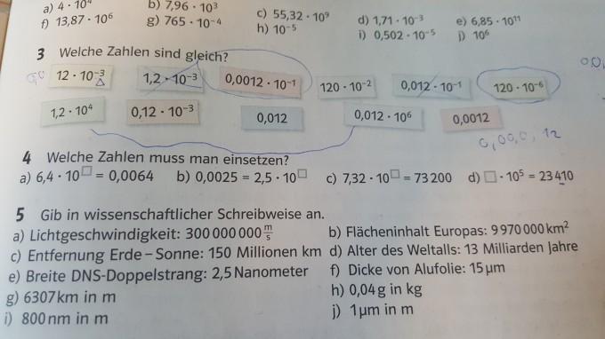 Gib in wissenschaftlicher Schreibweise an Nr. 4 a) Lücken füllen ...