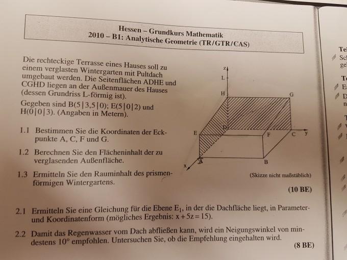 Relativ Abitur Aufgabe Hessen 2010 Analytische Geometrie. Neigungswinkel DV81