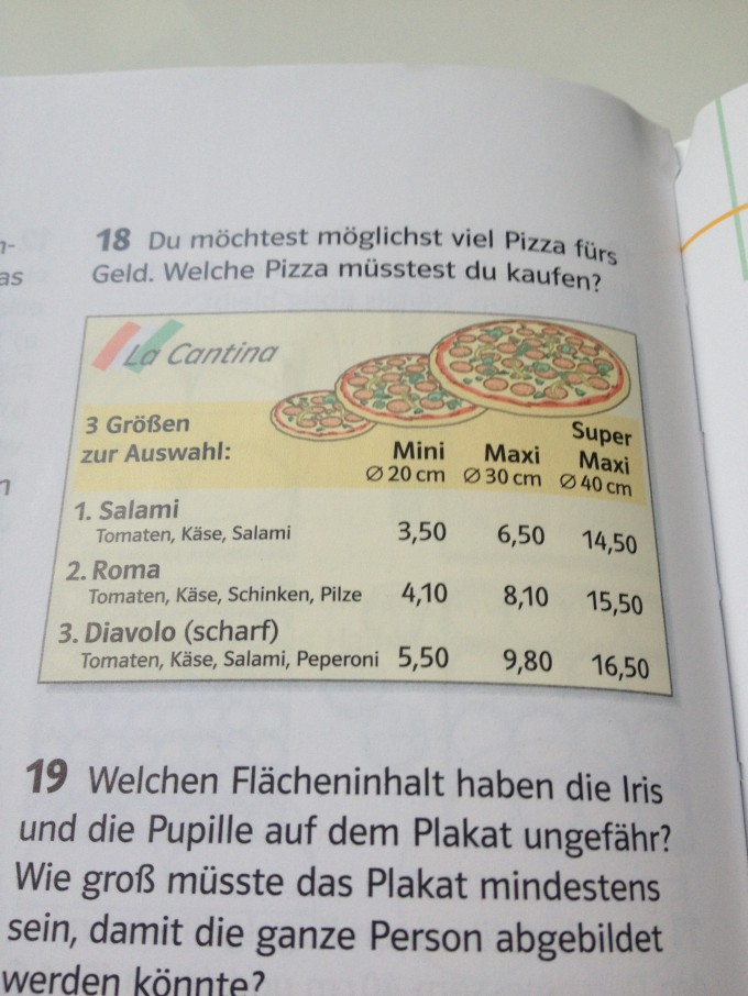 Möglichst viel Pizza fürs Geld? Welche Pizza? | Mathelounge