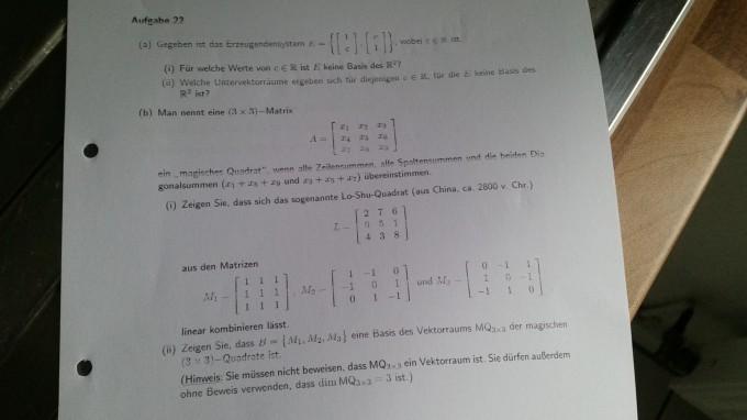 magisches Quadrat erzeugendensystem | Mathelounge