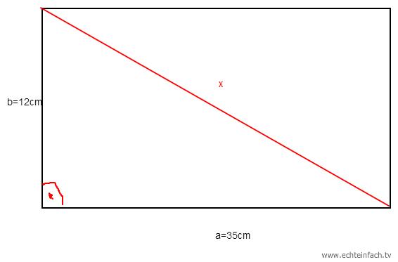 diagonale eines rechtecks mit satz des pythagoras berechnen mathelounge. Black Bedroom Furniture Sets. Home Design Ideas