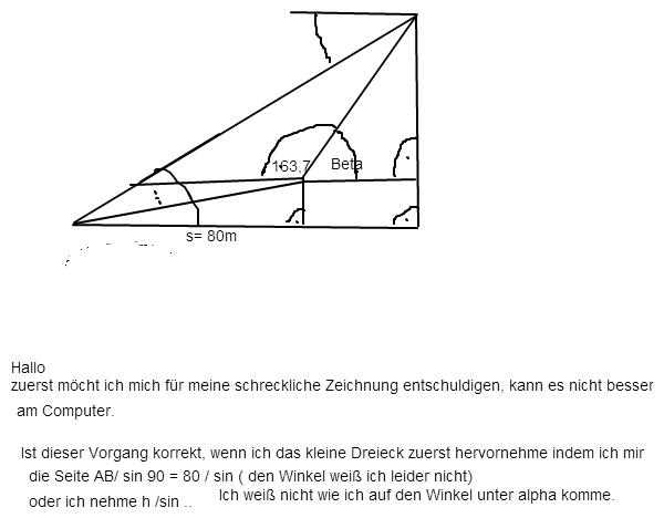 trigonometrie ein kirchturm wird von 2 punkten vermessen. Black Bedroom Furniture Sets. Home Design Ideas