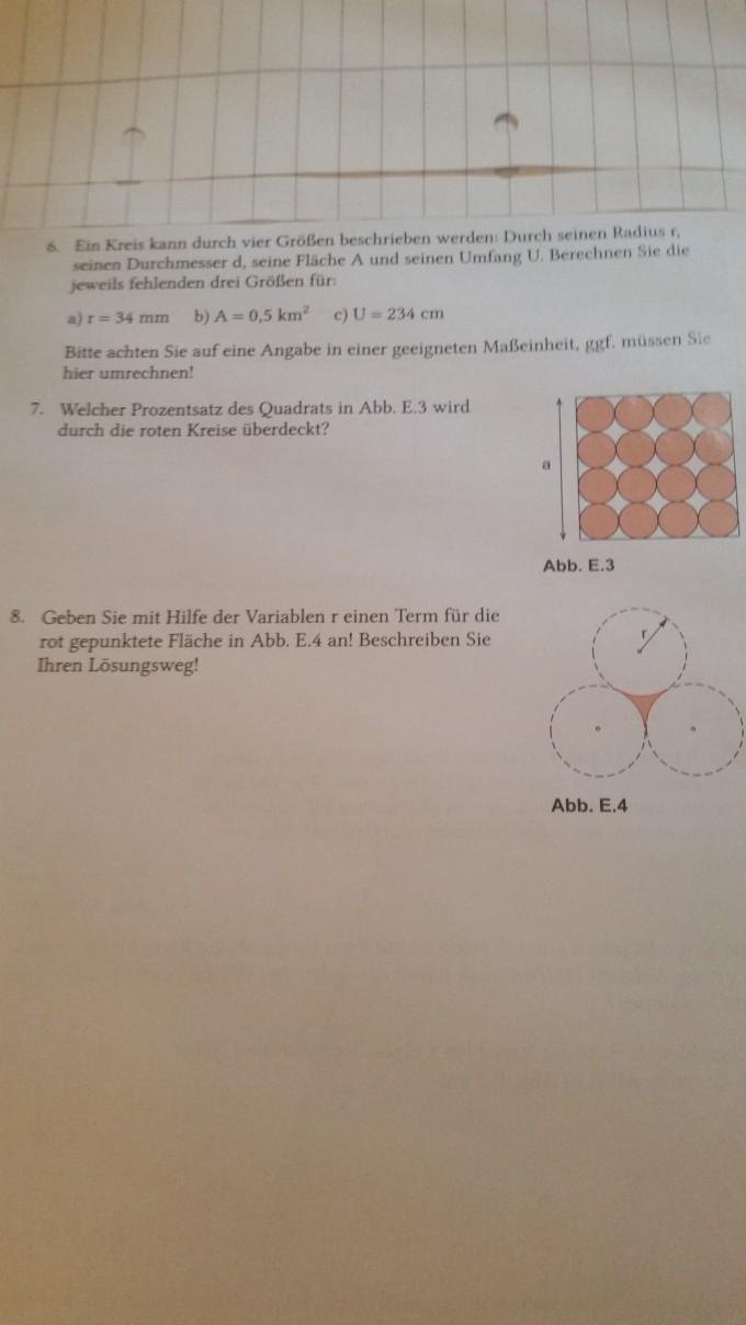 geometrie berechnen sie jeweils die fehlenden vier gr en eines kreises mathelounge. Black Bedroom Furniture Sets. Home Design Ideas