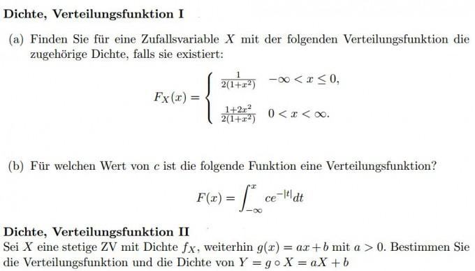 Dichte und Verteilungsfunktion | Mathelounge