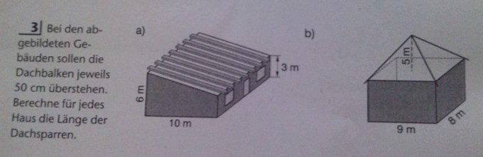 berechne f r jedes haus die l nge der dachsparren mathelounge. Black Bedroom Furniture Sets. Home Design Ideas