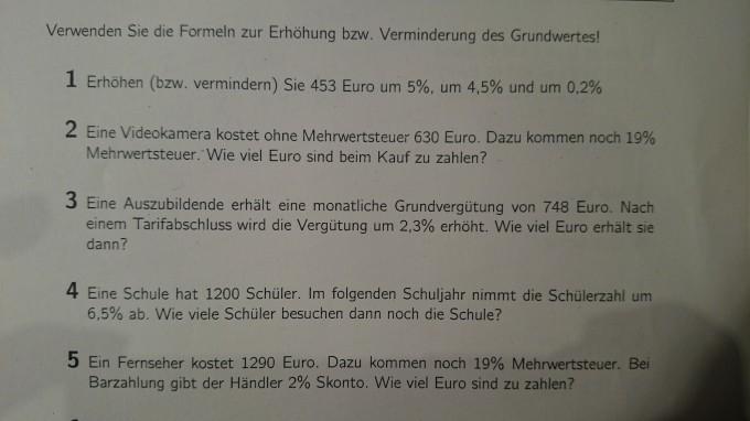 Prozentrechnung Aufgaben Mathelounge