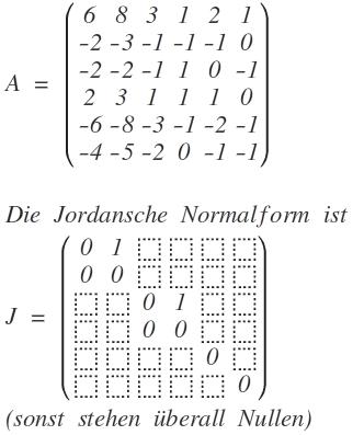 jordan jordan basis einer 6 6 matrix a 6 8 3 1 2 1. Black Bedroom Furniture Sets. Home Design Ideas