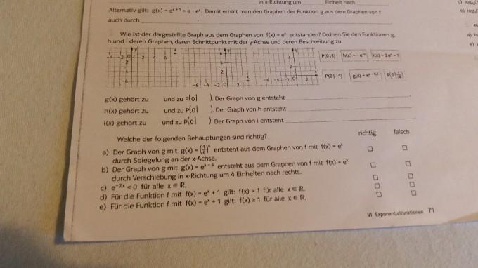 Hilfe Arbeitsblatt Exponentialfunktion E-Funktion | Mathelounge