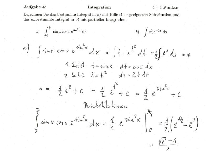integral von sin x cos x e sin 2 x mit substitution. Black Bedroom Furniture Sets. Home Design Ideas