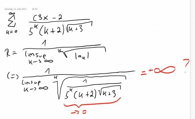 Konvergenzradius Folgender Reihe Bestimmen Ist Die Rechnung So Richtig Cauchy Hadamard Mathelounge