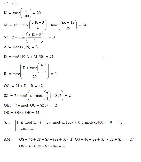 Ostern Berechnen Formel
